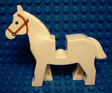 LEGOS - One NEW White Horse with Black Eyes, White Pupils, Brown Bridle Pattern