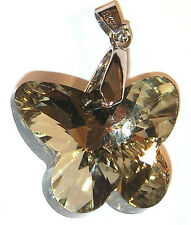 PENDANT/NECKLACE Smoke Brown Glass Crystal PRETTY BUTTERFLY