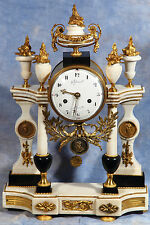 French Empire Bronze Dore Ormolu Gilded Marble Clock 18th Century by Guydamour