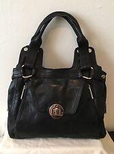 KOOBA Black Leather Large Shoulder Bag w/ Silver Hardware
