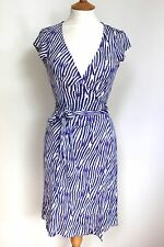 DVF Diane von Furstenberg KYE blue purple striped silk wrap dress 8