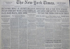 1-1941 WWII January 20 DICTATORS MOVE IN SECRET PETAIN ENDS RIFT WITH LAVAL