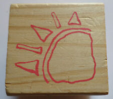 Corner Sunshine Hand Drawn Sketch Child'S Drawing Wooden Rubber Stamp