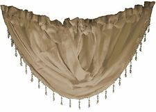 "COFFEE VOILE CRYSTAL BEADED TRIM SWAG ROD POCKET CURTAIN DRAPE 22X18"" 56X45CM"