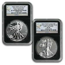 2013 Silver American Eagle 2 Coin West Point Set - MS/PR 70 Early Releases NGC