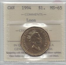 **1994** ICCS Graded Canadian, Loon, One Dollar, **MS-65**