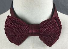 Lanvin Paris Designer Maroon Red Knitted Silk Formal Neck Bowtie Tie Italy