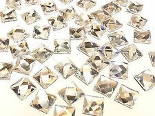 SQ8- 50x 8mm SQUARE HOT FIX Faceted Glass Crystal Rhinestone Diamante Gems BLING