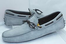 Tod's Men's Gray Shoes Size 11.5 Lace Mocassin Loafers Drivers Suede Slip NIB