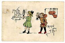 Happy Halloween-GIRL w/ MIRROR & BOY W/ MASK-Embossed Postcard MBG JOL
