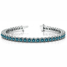 1.48 Carat SI1 Blue Round Diamond Prong Set Bracelet 14k White Gold For Women