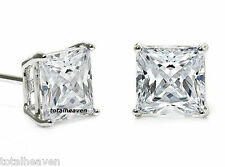 AAA 9mm Big SPARKLING 6ct tw PRINCESS CZ Solid 14K White Gold Stud Earrings $359