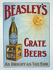 Beasley's Crate Bottle Beer Old Pub Bitter Ale Bar Hotel Large Metal/Tin Sign