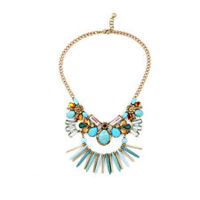 NEW * Anthropologie Grand Quana Turquoise Teal Gold Bead Statement Necklace