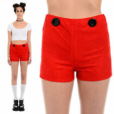 Vintage 60s 70s Red Velvety High-Waist Mod Go-Go Twiggy Disco Hot Pants Shorts S
