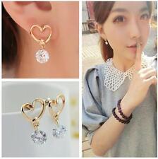 Korea Style Love Heart Crystal Zircon Dangle Ear Pins Ear Studs Eardrop Earrings