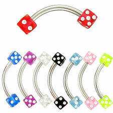 wholesale bulk lot 8x piercing dice eyebrow needle tragus belly bars ring curved