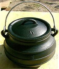 2QT Cast iron Bean pot Flat bottom Potjie Camping Survival Cookware