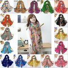 Fashion Lady Soft Voile Beautiful Rural Style Flower Long Silk Scarf Shawl Stole