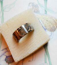 Rare bague anneau ancien vintage argent jaspe léopard signé