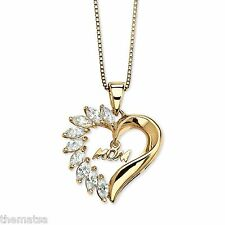 """1/10 TCW  DIAMOND HEART SHAPED 10K GOLD HEART PENDANT AND 18"""" NECKLACE CHAIN"""