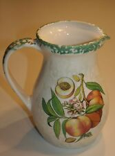 Vintage Ceramic Peach Pitcher HiMark Made in Italy Butterfly 8.25 inches Tall
