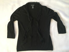 Banana Republic black silk and cashmere 3/4 sleeve v-neck sweater sz M