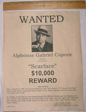 BIG 11 x 14 Al Capone Wanted Poster, Scarface, Gangster, Outlaw, Bank Robber