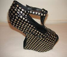 Jeffrey Campbell Nighter Black Gold Leather Peeptoe T-Strap Heeless Platform 6.5