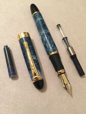 JINHAO X450 BLUE MARBLE FOUNTAIN PEN-M NIB-INK CONVERTER-BLUE CARTRIDGE-UK STOCK