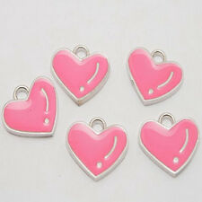 6pcs enemal heart  charms/pendants w1008