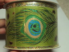 Christmas Wired Ribbon Peacock Feathers Green Gold Glitter 30 ft, NEW