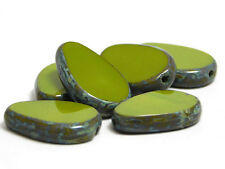 12x18mm Opaque Advacado Green Picasso Table Cut Flat Teardrop Beads (6) #367