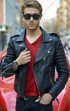 Mens Black Quilted Boda Sheep Skin Motorcycle Biker Real Leather Jacket
