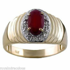 Mens Oval Red Ruby & Diamond Ring 14K Yellow Gold