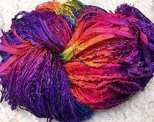 hand dyed art Yarn 150 yds hand tied multi fibers Grapevine Surprise scarf