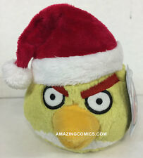 "Angry Birds 5"" CHRISTMAS YELLOW Bird Plush w/Santa Hat Commonwealth Toys - New"