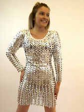Campbell Cooper New Ladies Womens Sexy Silver Dress Retro Hole Dress Up 8-12