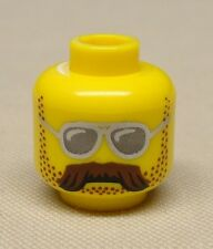 x1 NEW Lego Minifig Head w/ Brown Bushy Moustache, Stubble and Silver Sunglasses