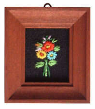 Dolls House Hand Made Miniature 1980s Embroidery Picture Dark Frame Flower Mix 1