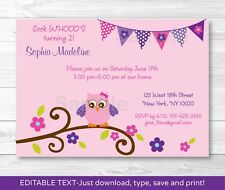 Girl Owl Blossom Printable Birthday Invitation Editable PDF