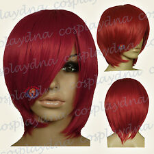 16 inch Hi_Temp Dark Red Long Layer Bob Cut  Short Cosplay DNA Wigs 65DDR