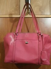 Coach Pink Leather Zip Closure Tote Bag Purse