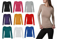 NEW WOMENS CLASSIC LONG SLEEVE T-SHIRT LADIES CASUAL STRETCH PLAIN TOP SIZE 8-14