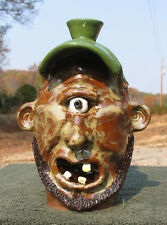 JUNIOR Cyclops Redneck FACE JUG ceramic pottery southern art folk nc gift ugly