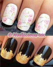 NAIL ART SET #201 GLITTER PINK FLOWER WATER TRANSFERS/DECAL/STICKERS & GOLD LEAF