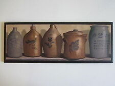 Vintage Pottery Churns Jugs wall decor plaque hand crafted sign kitchen picture