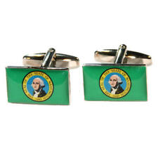 Green Washington Us Flag Cufflinks With Gift Pouch American Flags Present New