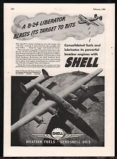 1943 WW II Consolidated Aircraft B-24 LIBERATOR WII WW2 Shell Aviation Fuel AD