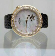 Rotary Ladies Watch Rotating Flower Swarovski Case Brown Leather Strap RRP £180
